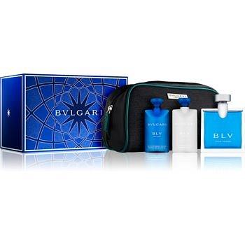 Bvlgari BLV pour homme dárková sada V.  toaletní voda 100 ml + balzám po holení 75 ml + šampon a sprchový gel 75 ml + taštička