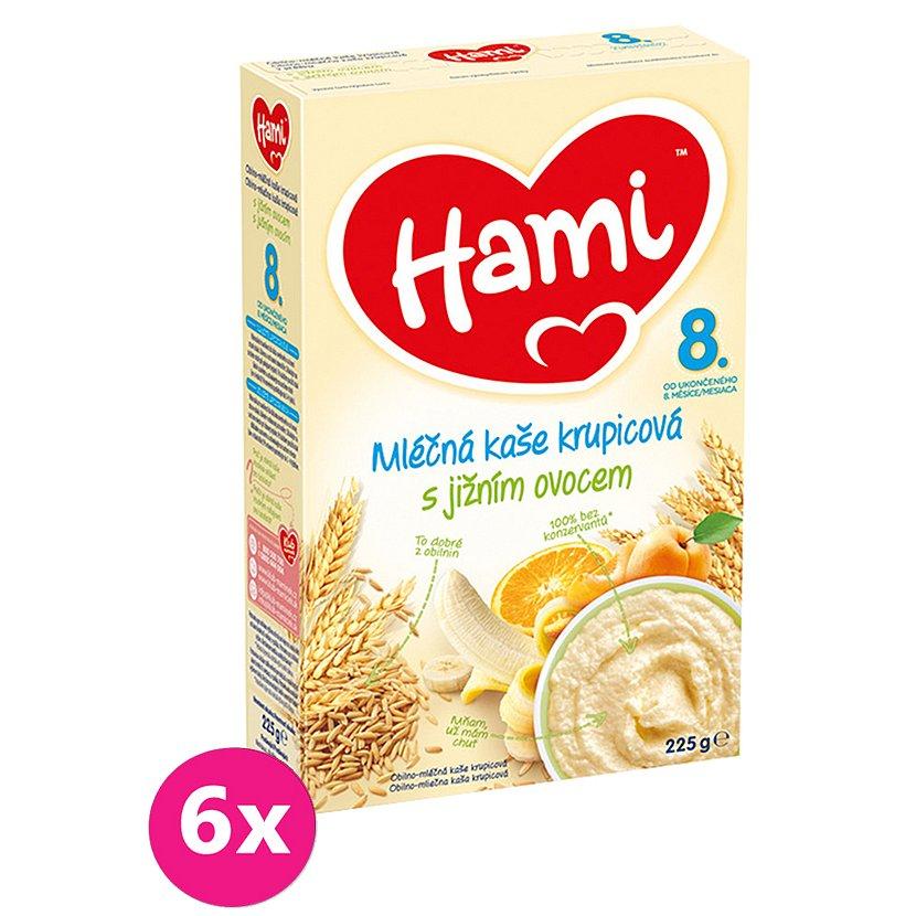 6x HAMI Kaše mléčná krupicová s jižním ovocem (225 g) 8+