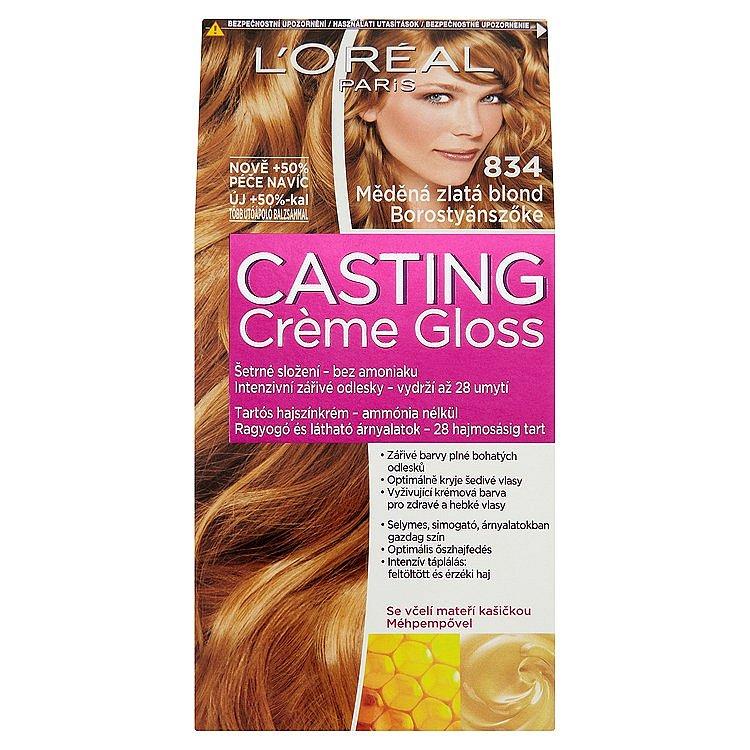 L'Oréal Paris Casting Crème Gloss měděná zlatá blond 834