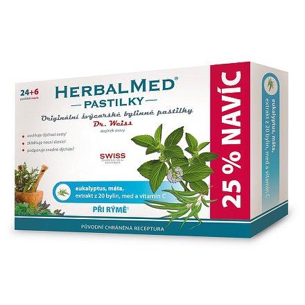 HerbalMed Dr.Weiss pastilky Eukalyptus-máta 24+6 ks