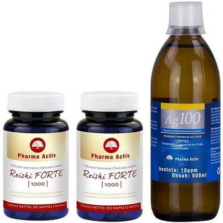 Reishi 1000 Forte 90kaps.1+1 + Koloidní stříbro Ag100 10ppm 500ml