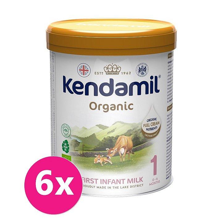 6x KENDAMIL Kojenecké BIO/organické mléko 1 (800 g) DHA+