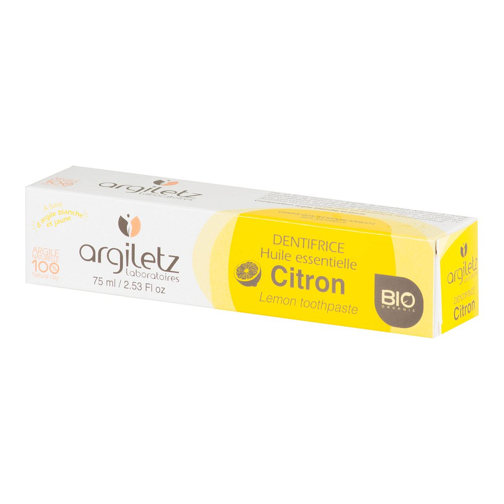 Argiletz BIO Zubní pasta s bílým a žlutým jílem citron 75 ml