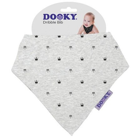 Dooky bryndáček Dribble Bib Light Grey Crowns