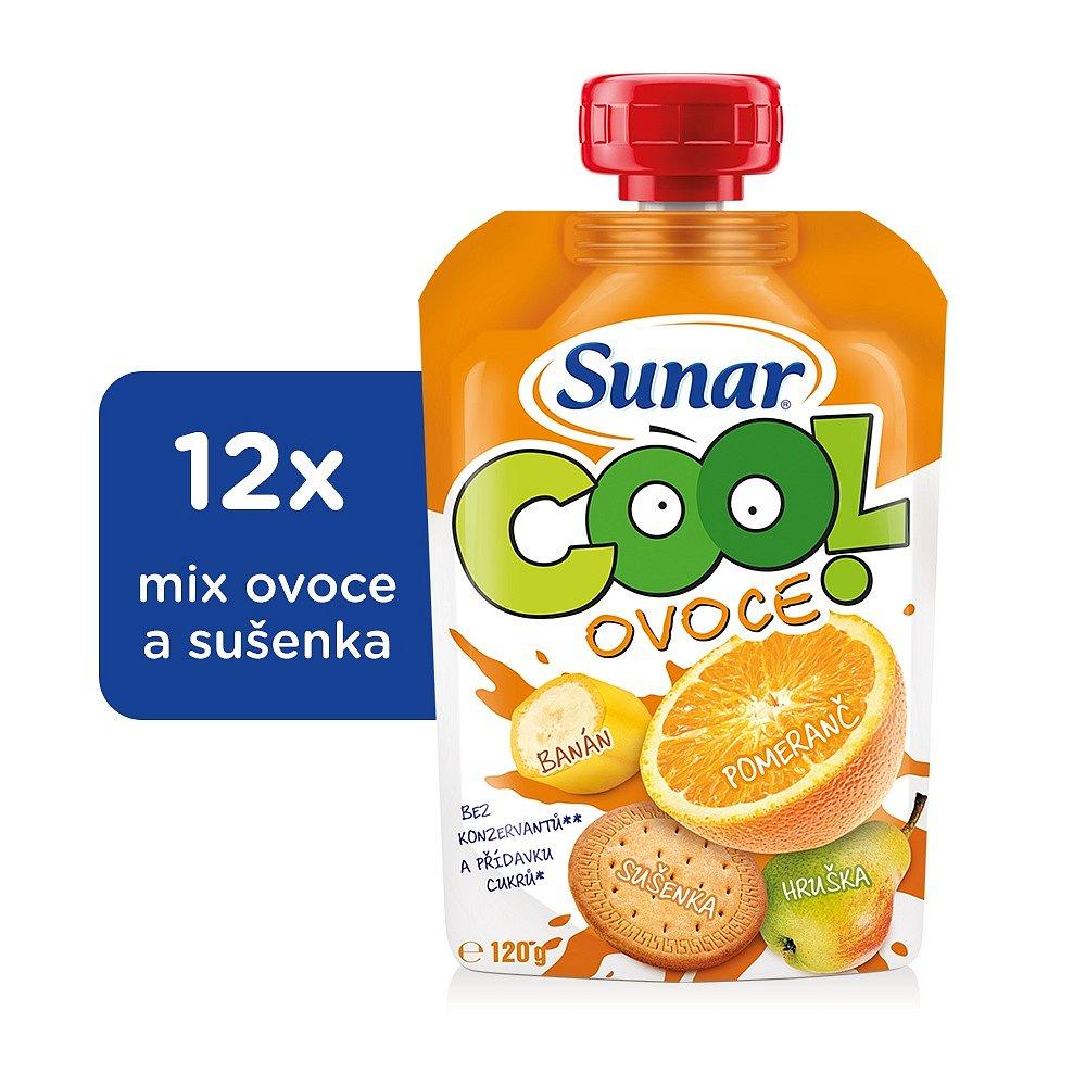 12x SUNÁREK Cool ovoce Pomeranč, banán, sušenka (120g) - ovocný příkrm