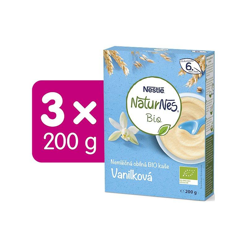 3x NESTLÉ Naturnes BIO Nemléčná kaše Vanilková 200 g