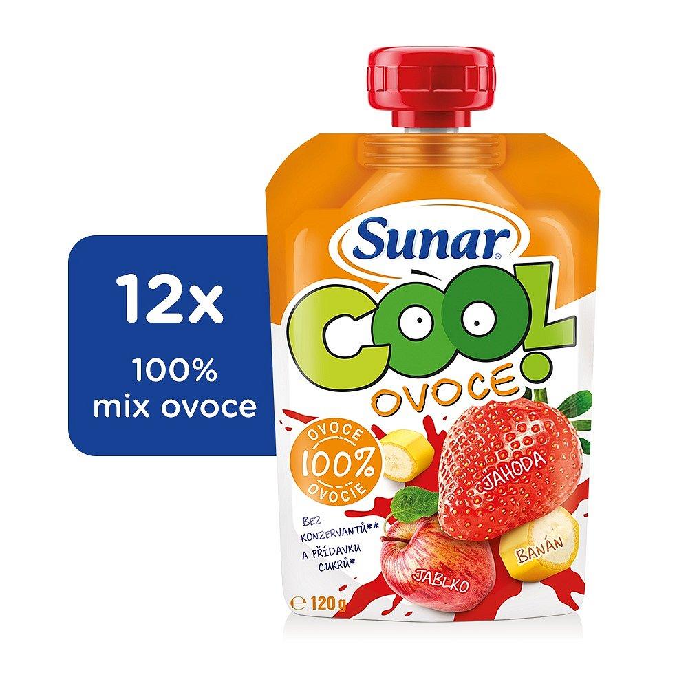 12x SUNÁREK Cool ovoce Jahoda, banán, jablko (120g) - ovocný příkrm