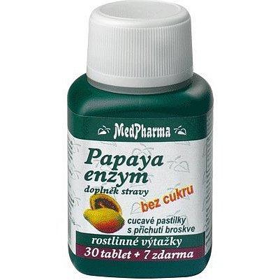 MedPharma Papaya enzym - cucavé pastilky bez cukru 37 tablet