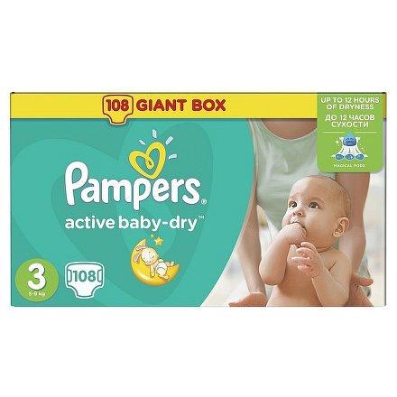 PAMPERS Active Baby giantpack midi 108 ks