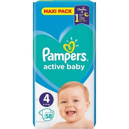 Pampers Active Baby Maxi Pack S4 58ks