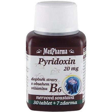 MedPharma Pyridoxin 20 mg – doplněk stravy s obsahem vitaminu B6 37 tablet