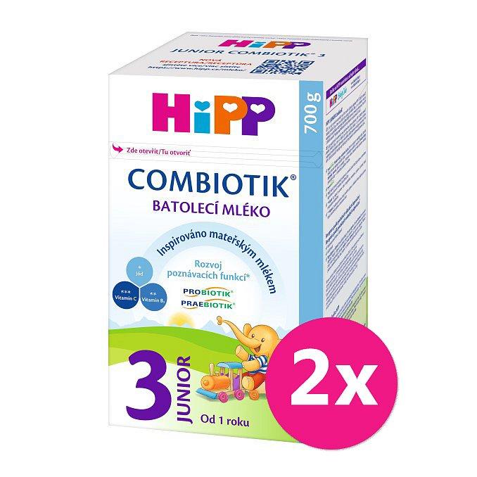 2x HiPP 3 Junior Combiotik - batolecí mléko od uk. 1. roku, 700 g