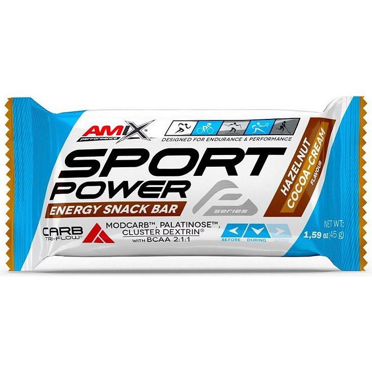 AMIX, Sport Power Energy Snack Bar, Lískooříškový kakaový krém, 45g