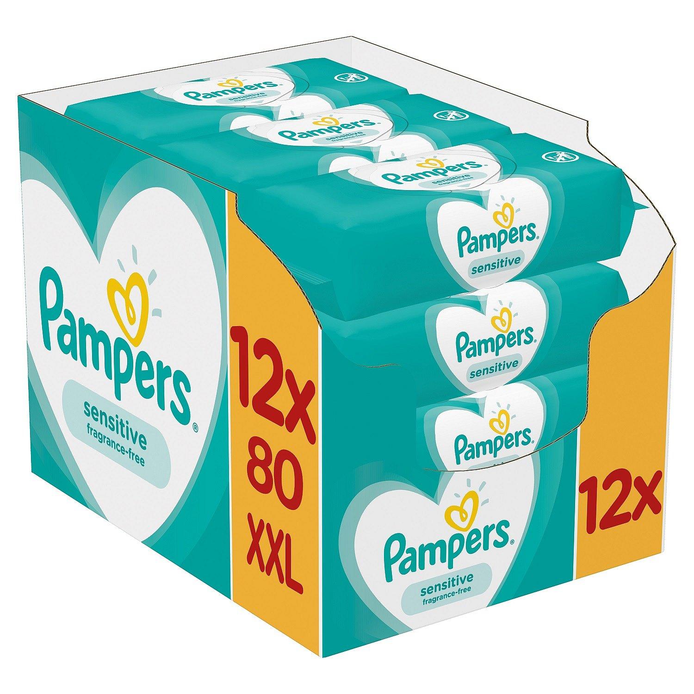 12x PAMPERS Sensitive XXL 80 ks - vlhčené ubrousky