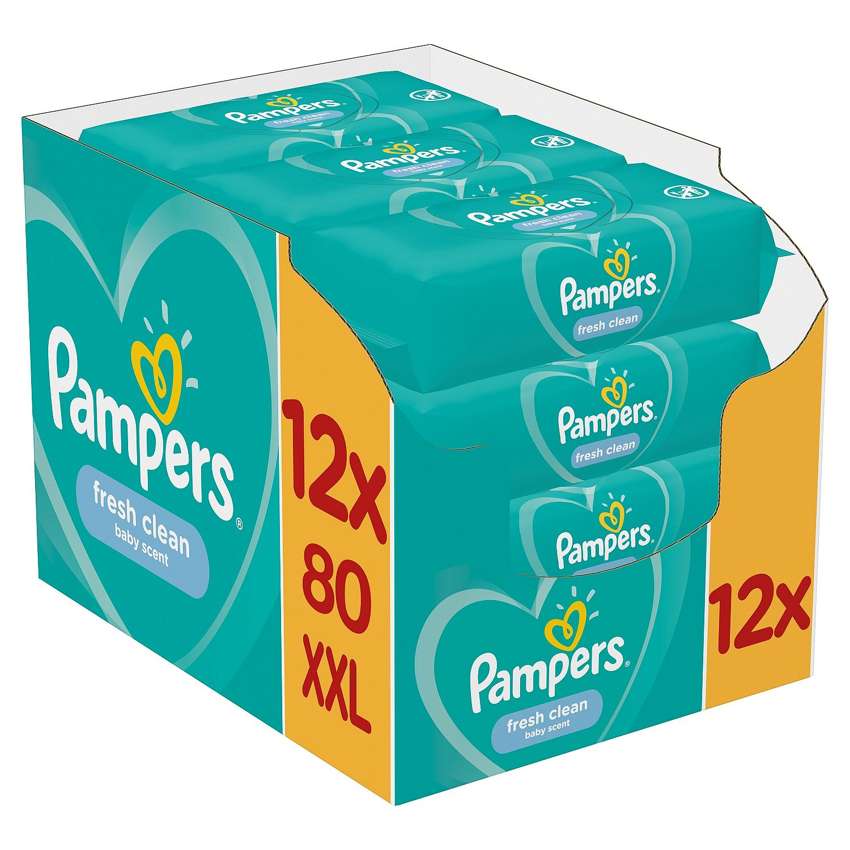 12x PAMPERS Fresh Clean XXL 80 ks - vlhčené ubrousky