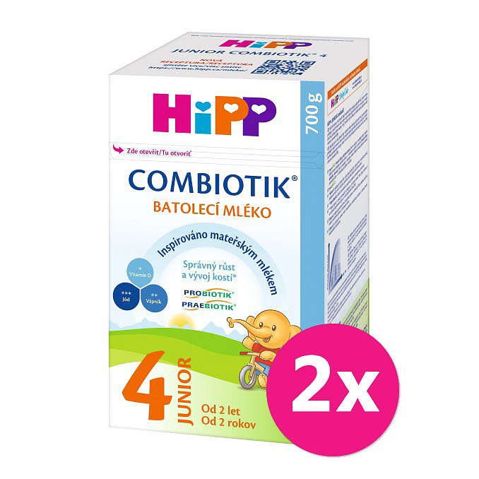 2x HiPP 4 Junior Combiotik - batolecí mléko od uk. 2. roku, 700 g