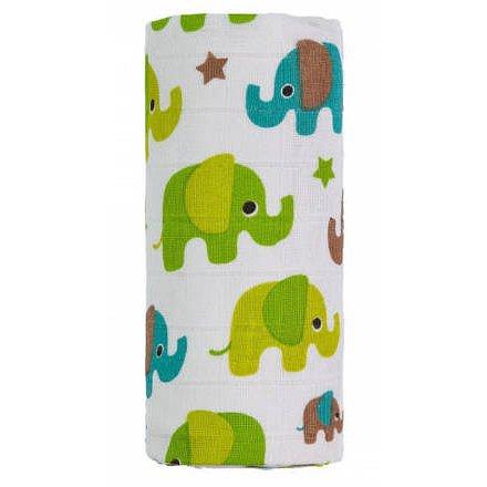 BIO Velká bambusová osuška, green elephants / zelení sloni