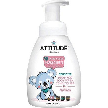 Dětské tělové mýdlo, šampon a kondicionér (3 v 1) bez vůně - s pumpičkou 300 ml