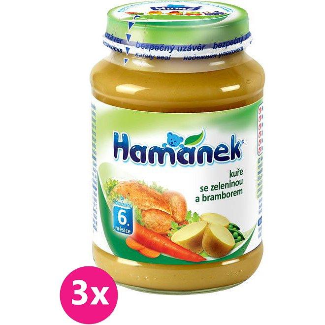 3x HAMÁNEK Kuře se zeleninou a bramborem (190 g) - maso-zeleninový příkrm