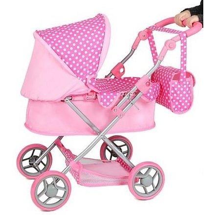 PlayTo Hluboký kočárek pro panenky Viola světle růžový