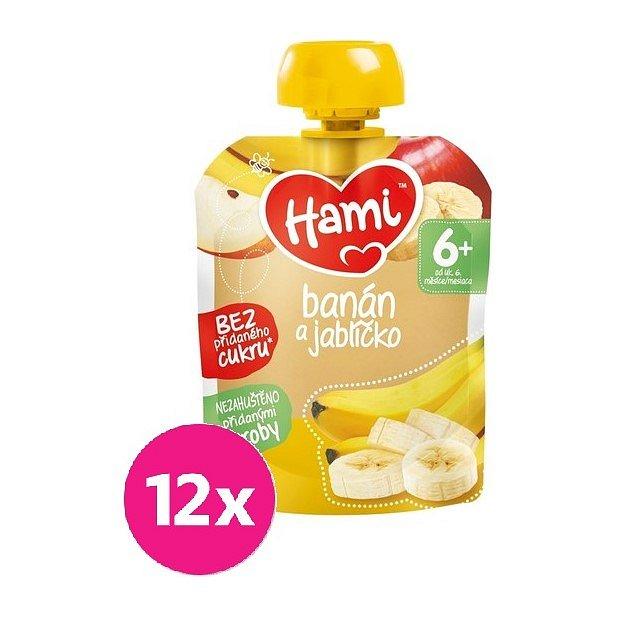 12x HAMI XXL ovocná kapsička Banán a jablíčko 90 g, 6+