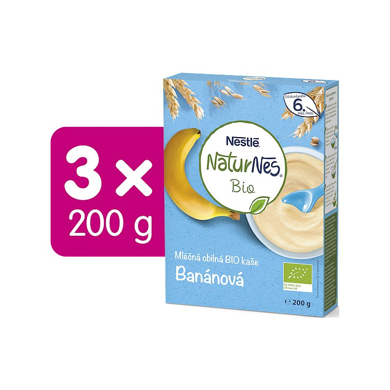 3x NESTLÉ Naturnes BIO Mléčná kaše Banánová 200 g