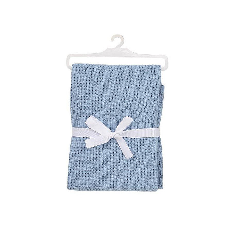 BABYDAN Dětská háčkovaná bavlněná deka světle modrá