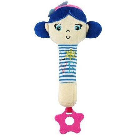 Dětská pískací plyšová hračka s kousátkem Baby Mix námořník holka blue