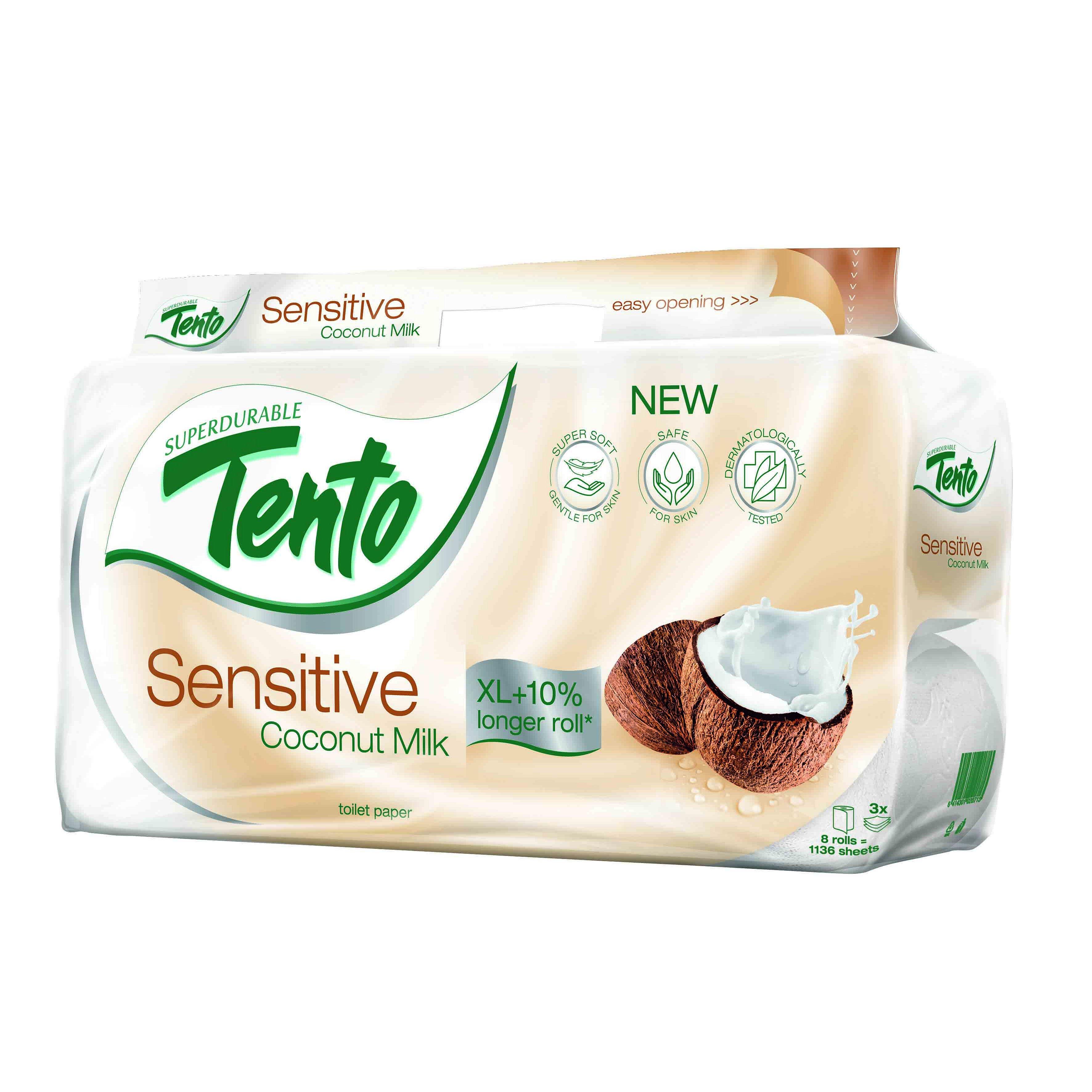 Tento Sensitive Coconut Milk toaletní papír 3vrstvý 8 ks