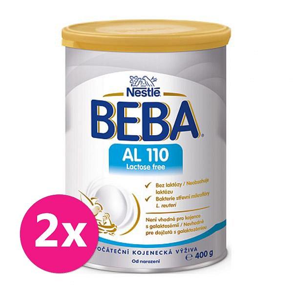 2x BEBA AL 110 Lactose free, mléčná kojenecká výživa, 400 g