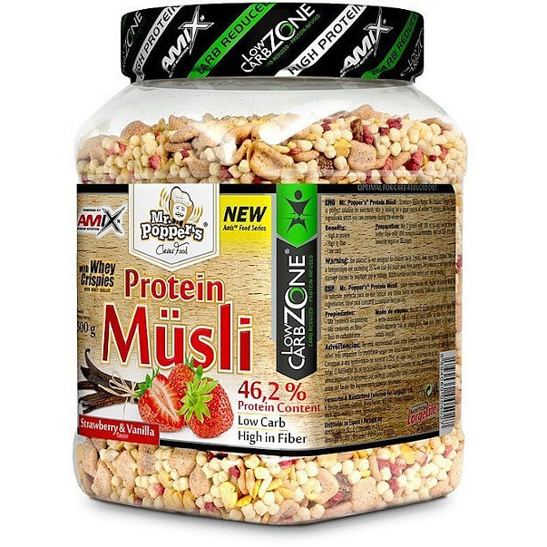 AMIX Mr. Popper ´s Protein Müsli, Jahoda-vanilka, 500g