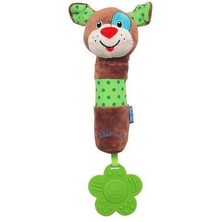 Dětská pískací plyšová hračka s chrastítkem Baby Mix pes