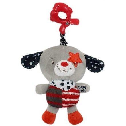 Dětská plyšová hračka s hracím strojkem Baby Mix pejsek červená