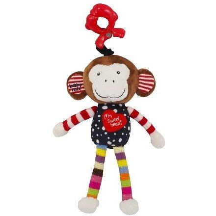 Dětská plyšová hračka s hracím strojkem Baby Mix opička červená