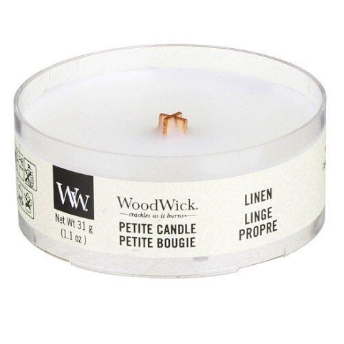 WoodWick Aromatická malá svíčka s dřevěným knotem Linen  31 g