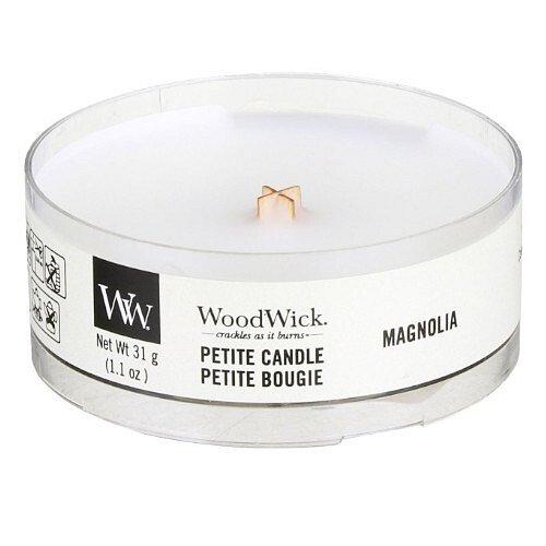 WoodWick Aromatická malá svíčka s dřevěným knotem Magnolia 31 g