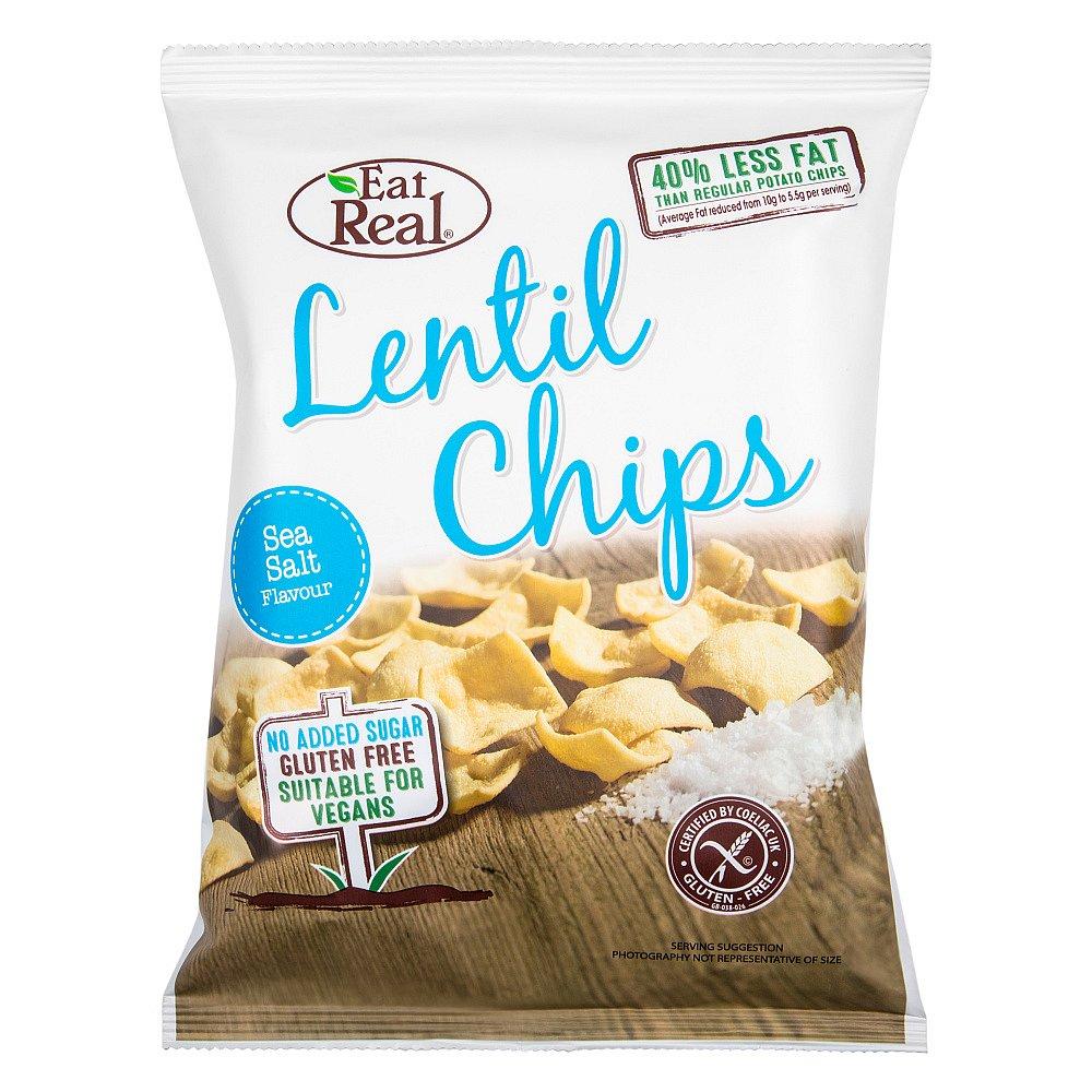 EAT REAL čočkové chipsy s mořskou solí 40 g