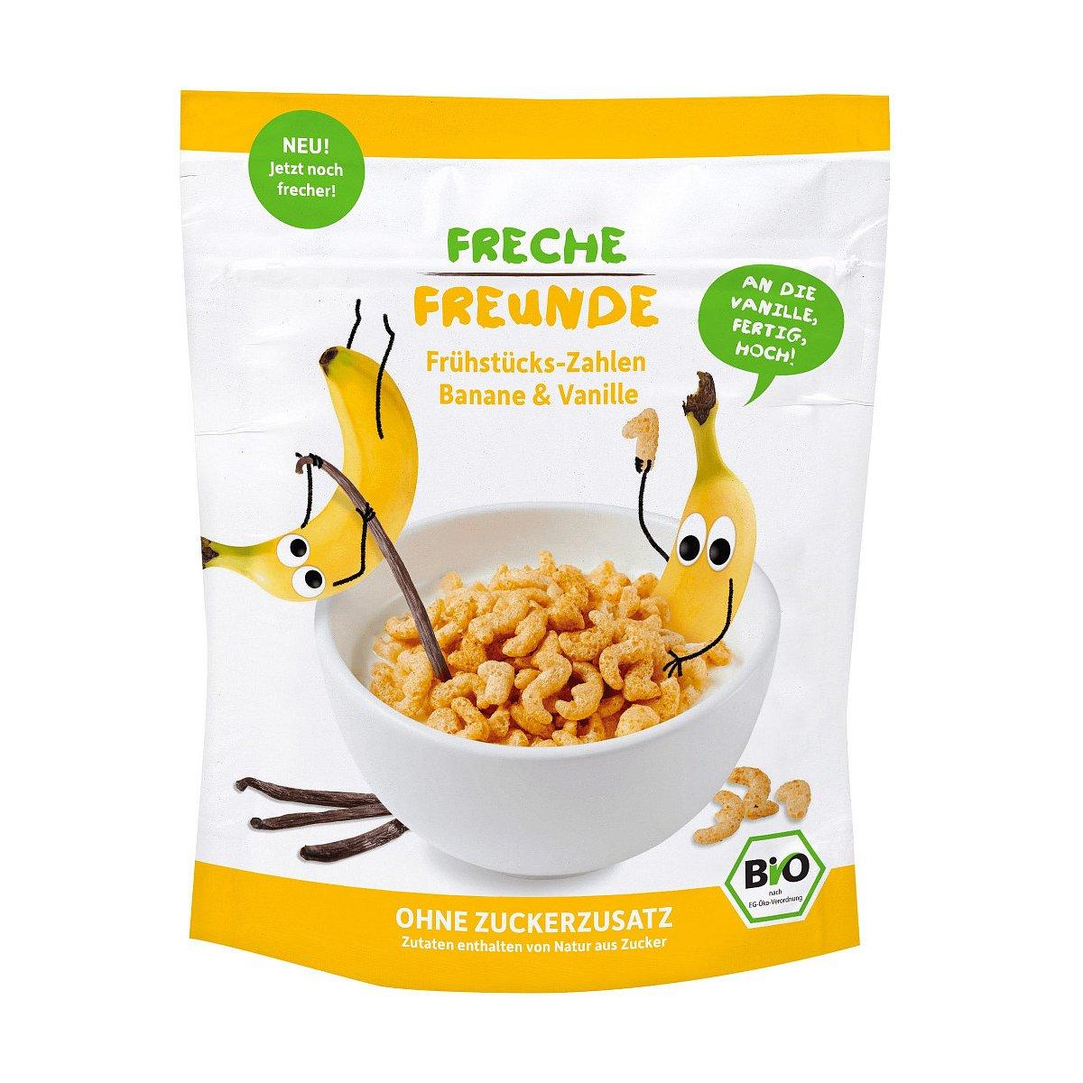 Freche Freunde BIO Cereálie křupavá čísla banán a vanilka 125 g