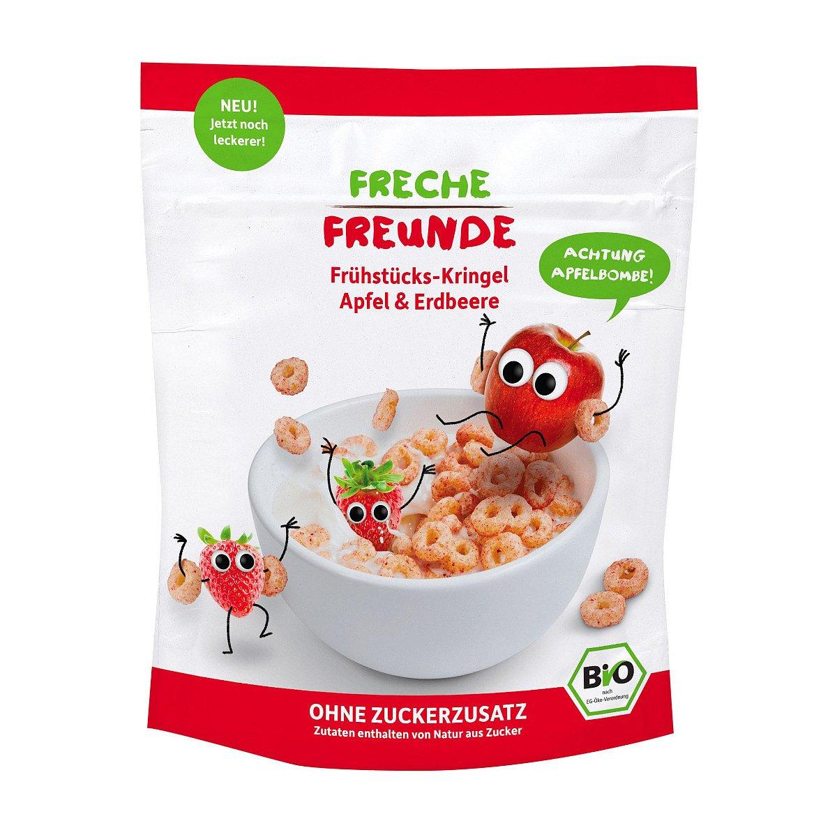 Freche Freunde BIO Cereálie kolečka jablko a jahoda 125 g