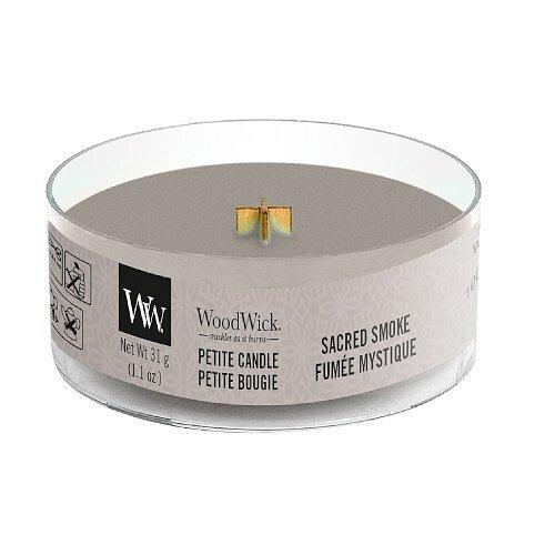 WoodWick Aromatická malá svíčka s dřevěným knotem Sacred Smoke  31 g