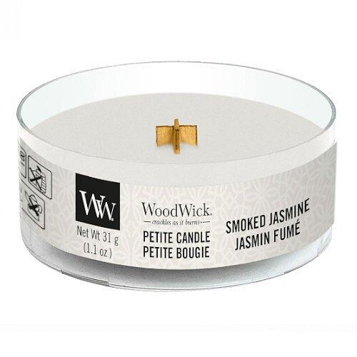 WoodWick Aromatická malá svíčka s dřevěným knotem Smoked Jasmine  31 g