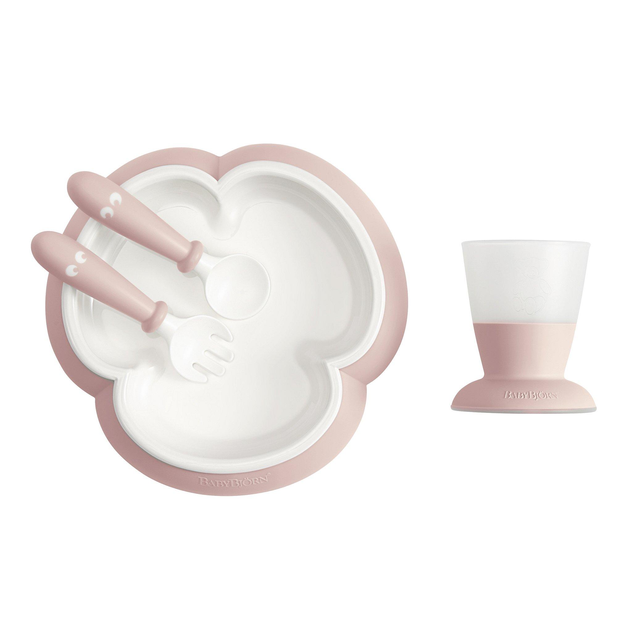 BabyBjörn 4-dílný jídelní set pudrově růžový
