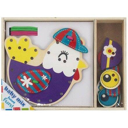 Dřevěná provlékací hračka Baby Mix Slepička