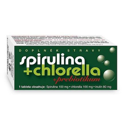 Spirulina + Chlorella + Prebiotikum tablety 90