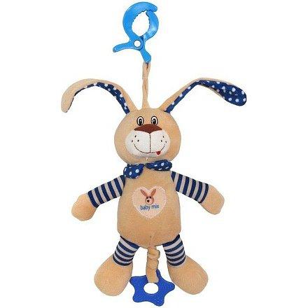Dětská plyšová hračka s hracím strojkem Baby Mix Králíček modrý