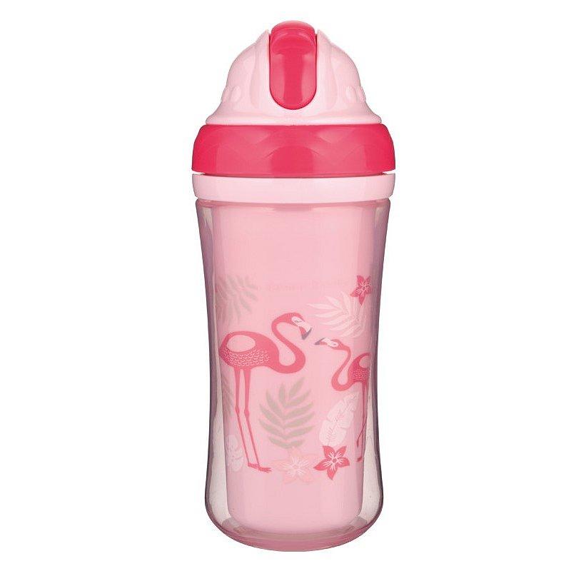 Canpol babies Sportovní láhev se silikonovou slámkou JUNGLE 260ml růžová