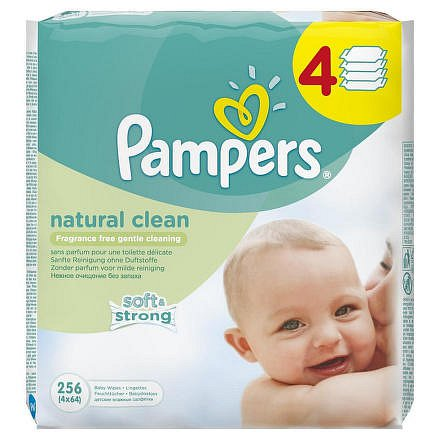Pampers Natural Clean ubrousky 4 x 64