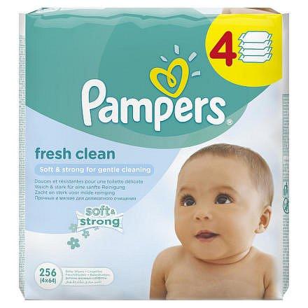 Pampers Baby Fresh Clean vlhčené ubrousky 4 x 64 ks