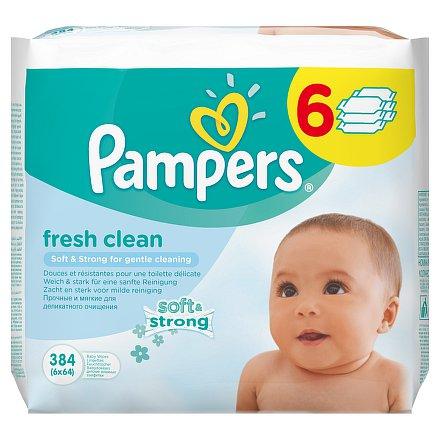 Pampers Baby Fresh Clean dětské čistící ubrousky 6 x 64 ks