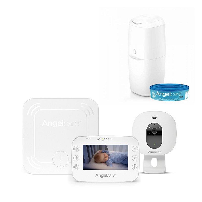 ANGELCARE AC327 Monitor pohybu dechu a el. video chůvička + koš na pleny Classic + 1 kazeta